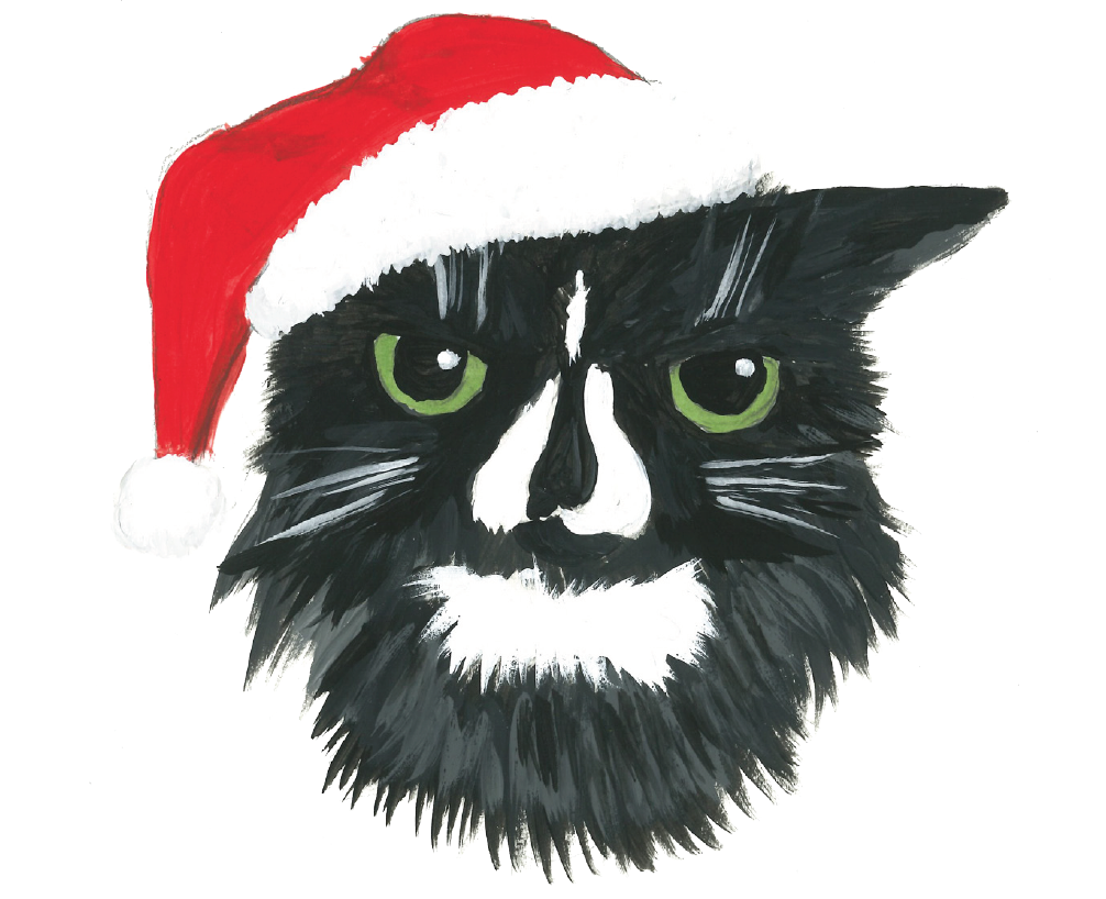 Painting of a cat in a Santa hat